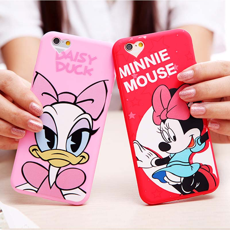 Cover For Apple iPhone 6 6S 4.7 Case Silicone Soft Mickey Minnie Daisy Mouse Donald Duck Mobile Love Heart Phone Cases