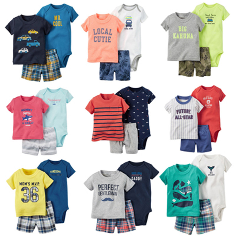 New 2017,baby boy summer clothes set ,bebes newborn, 3piece of set baby boy clothing ,infant boyt clothes 2pcs set baby clothes set boy