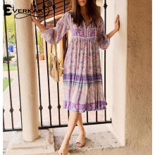 Everkaki Bohemian Print Long Dress With Sleeve Purple Violet Shirt Dresses For Women Loose Cotton 2019
