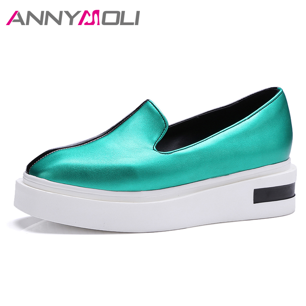ANNYMOLI Women Shoes Flat Platform Mixed Color Square Toe Shoe Slip On Flats Casual Autumn Shoes Green Gold 2017 Female Footwear casual square toe and slip on design flat shoes for women
