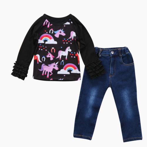 Kids Baby Girl Outfit Unicorn Long Sleeve Autumn T-shirt Tops + Long Pants Jeans Clothes 2PCS toddler kids newborn baby boy clothes long sleeve plaid romper bodysuit tops shirt jeans denim pants 2pcs outfit set us