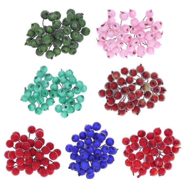 40 heads mini fake fruit small berries artificial flower cherry