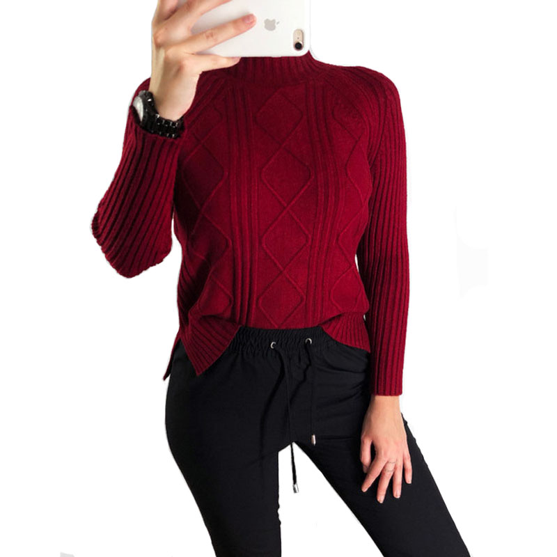 2018 Korean Fashion Women Turtleneck Pullover Sweater Solid Pink White Sweater Fall Long Sleeve Knit Jumper Cute Top Pull Femme
