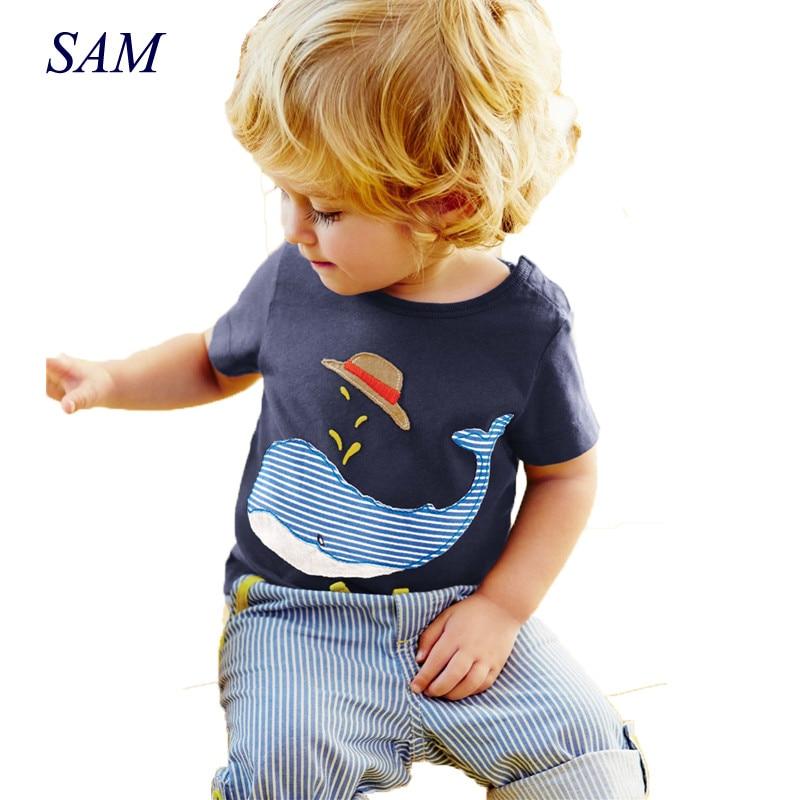 Kokvilnas bērni Zēni Apģērbi Bērnu apģērbu komplekti Vasaras bērnu zēnu apģērbi Cute Whale bērnu komplekti T-krekls džinsa bikses