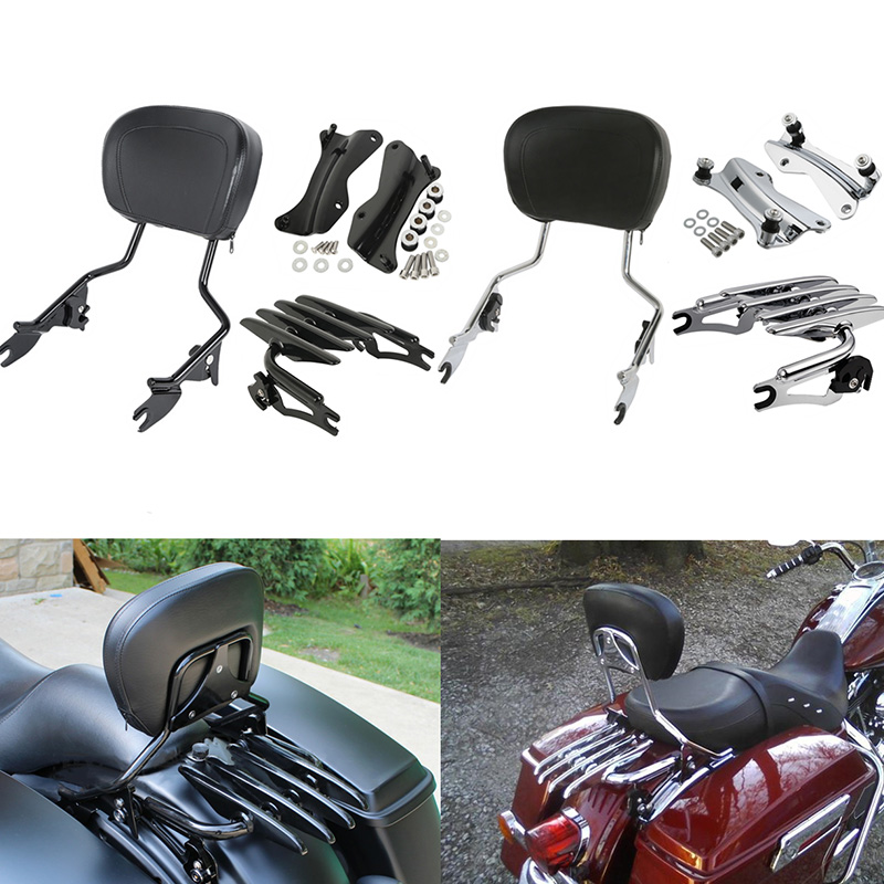 Motorcycle Detachable Backrest Sissy Bar Luggage Rack For Harley Touring Road King Street Glide Road Glide