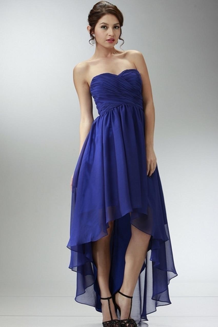 Long Royal Blue Chiffon High Low Bridesmaid Dresses vestido madrinha ...