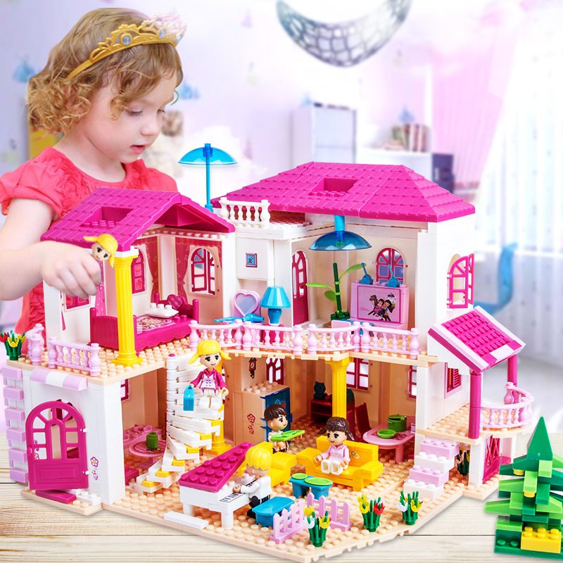 Assembly Puzzle Building Blocks Urban Villas Castle Series Children Toys three s company ru bun lock children puzzle toy building blocks