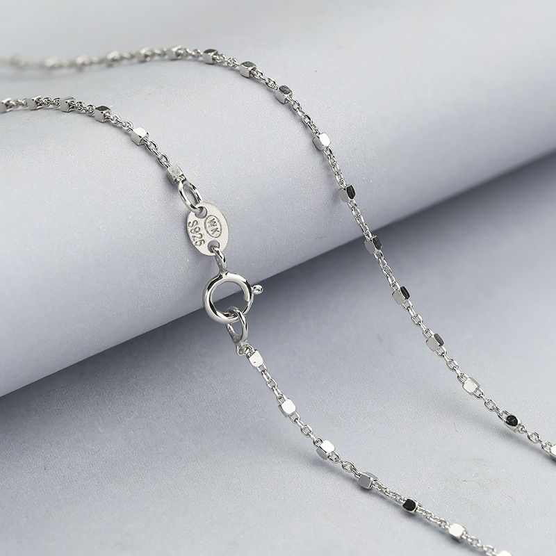 Solid Silver Necklace For Women Korean Chain 1.3g Bead Chain Necklace 925 Silver Chain Women Bead Necklace 18K White Gold Plated