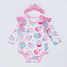 Pink 100%Cotton Long Sleeve Winter Baby Romper Jumpsuit Newborn For Baby Body Clothes ice cream Printed Baby Outfit Set 0-2 yrs недорого