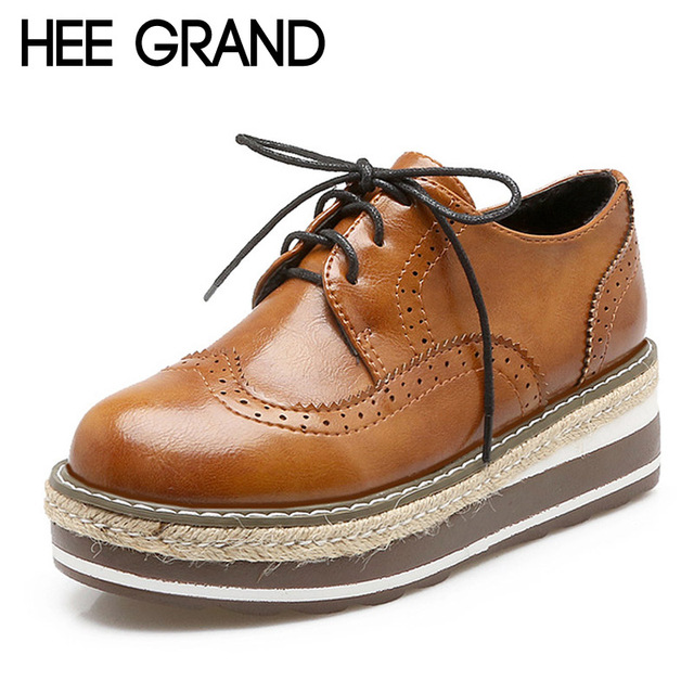 HEE GRAND Vintage Oxfords Shoes Woman 2017 Creepers Platform Women Brogue Shoes Spring British Style Flats 4 Colors XWD4893