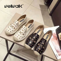 Wellwalk women Creepers Platform Shoes Winter Flat Woman Shoes Ladies Espadrilles Black Loafers Ladies Moccasins Boat Shoes Lady