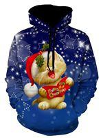 2018 NEW FASHION MEN WOMEN Happy Cat at Christmas in Blue 3D Hoodie Sweatshirts Pullovers Autumn Tracksuit Streetwear Hoody