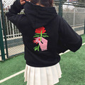 Autumn and winter women loose Harajuku wind roses embroidery plus velvet long sleeved hooded sweatshirt  Couples dress