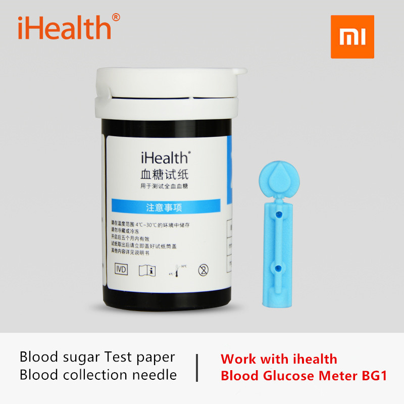 Original Xiaomi Mijia Ihealth Blood Glucose Test Strips And Blood Collection Needle For Ihealth Smart Blood Glucose Meter BG1