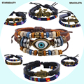 19 Collections Evil Eye Hope Note Bike Owl Fabric Wax Rope Leather Bracelet Men Bracelet Femme Woven Bracelets for Women Braclet