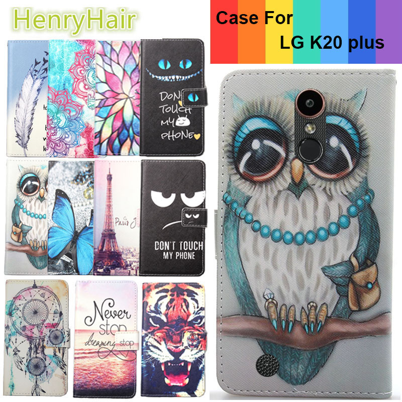 Top Selling 11 Colors Cartoon Painting PU Leather Magnetic clasp Wallet Cover For LG K20 plus Case