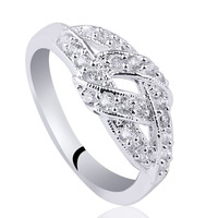 New Stylish Lady Band Solid 925 Sterling Silver Ring Clear Cubic Zirconia Jewelry Support Customization R143WT