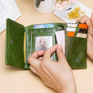Image 2 - 連絡財布クリップ本革財布アンチrfid高級マネーバッググリーンコイン財布cartera mujer