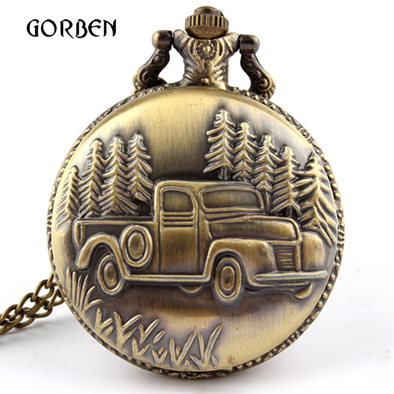Retro Bronze Car Truck Pocket Watch Antique Steel Pocket Fob Watches Long Chain Necklace Gift Relogio De Bolso