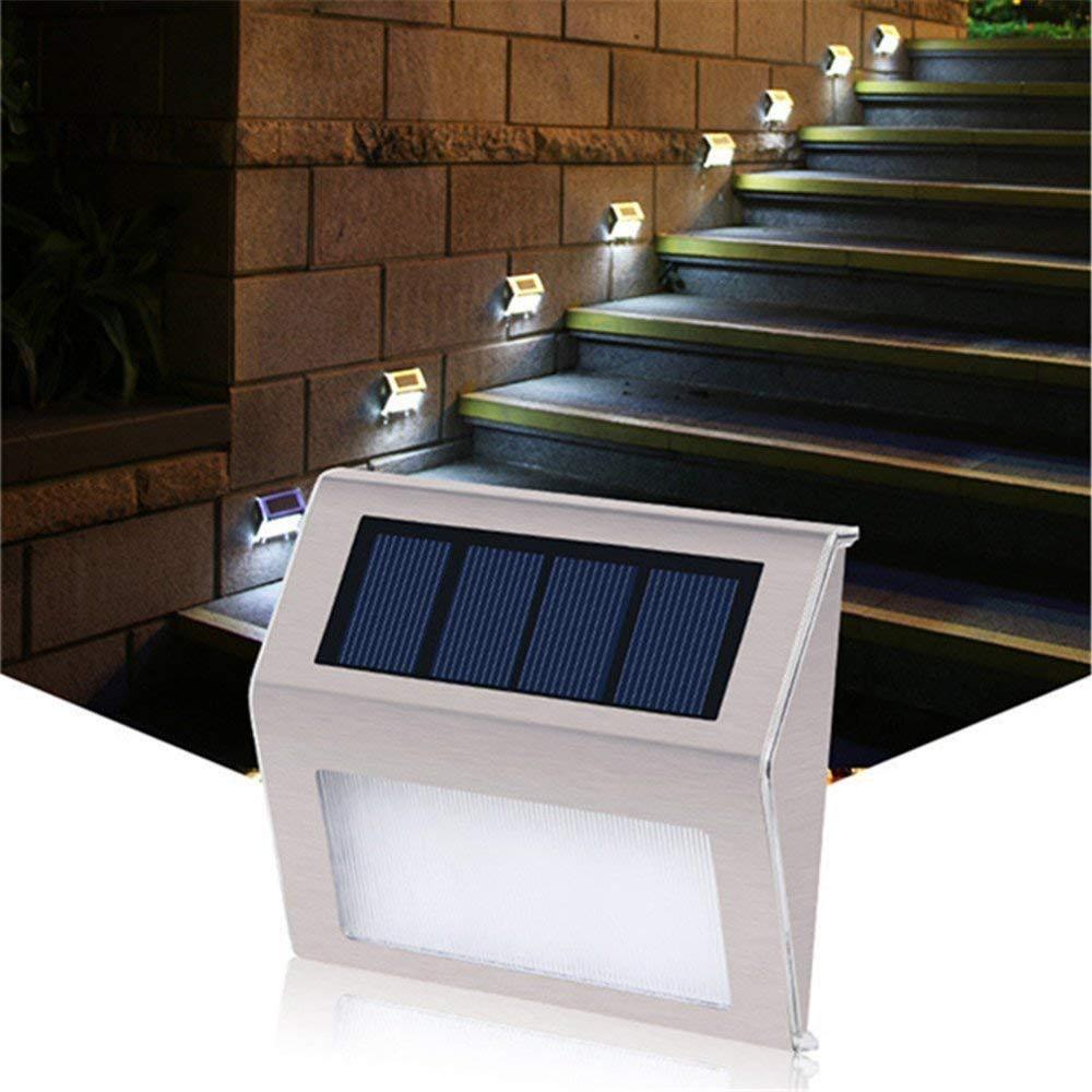 स्टेनलेस स्टील एलईडी सौर दीवार प्रकाश आउटडोर दीवार लैंप मार्ग उद्यान सीढ़ी सजाया ऊर्जा बचत सौर ऊर्जा यार्ड 2pcs / बहुत के लिए