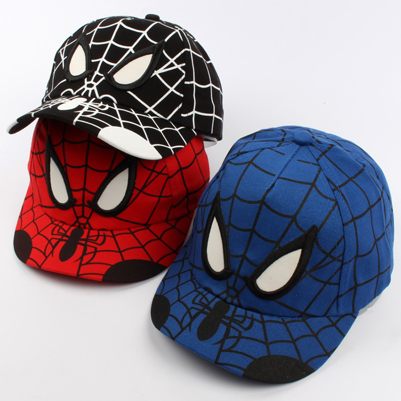 New Spring Children Hats Embroidery Spider Man Chivalrous Male Girls And Boys Cute Hats Snapback Baseball Caps Kid Hip Hop Hats