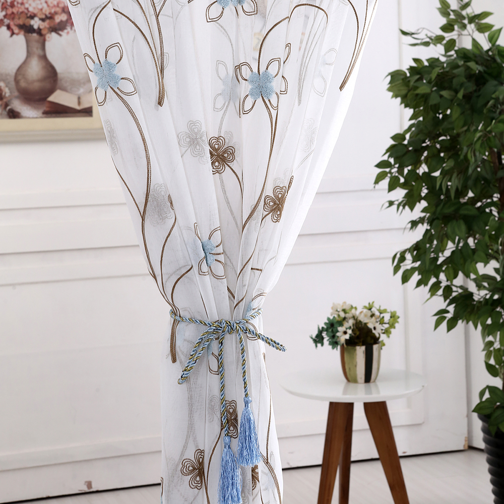 Flock Flowers White Sheer Fabric Drapes For Living Room Country ...