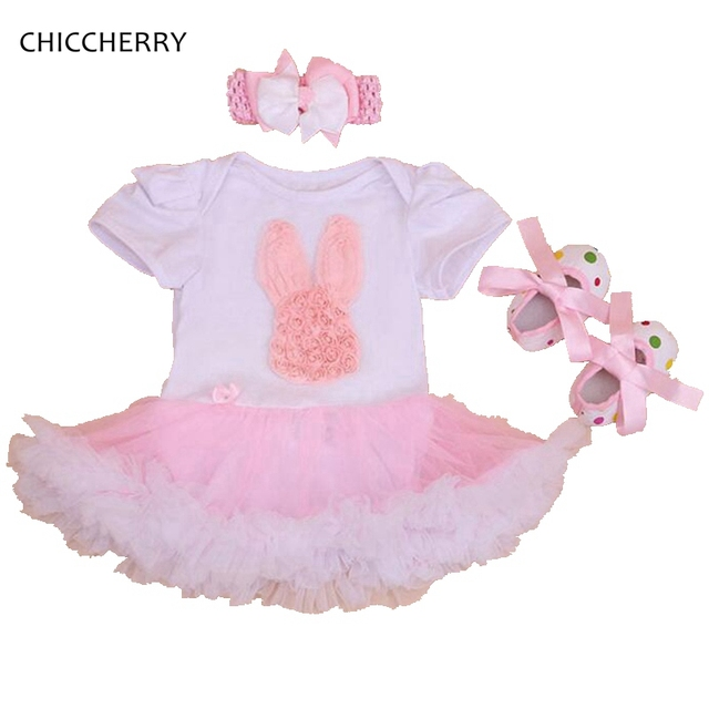 Pink Rabbit Party Girl Dress Infant Lace Tutu Set Headbands Cribs Shoes Birthday Outfits Vestido De Bebe Newborn Girls Clothes