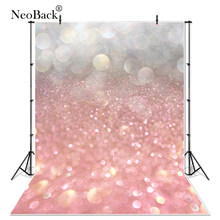 Thin Vinyl Silver to Light Pink Bokeh New born Baby Photographic Backgrounds Children Photography Studio Photo Backdrops B0294(China)