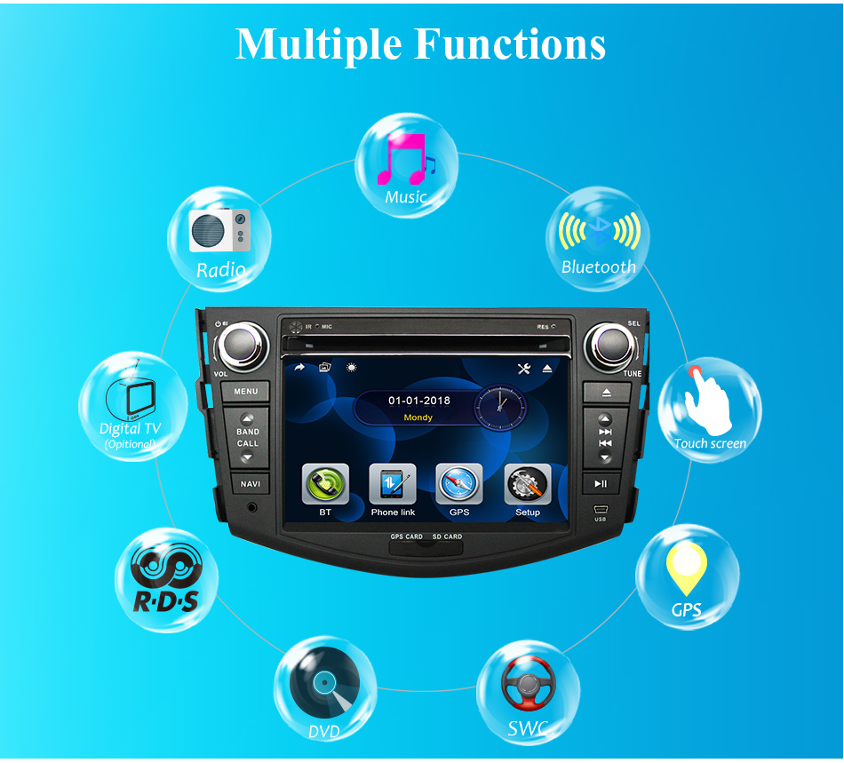 Discount Eunavi Car DVD Player 2Din Car Radio For Toyota RAV4 2006 2007 2008 2009 2010 Steering Wheel control Touch screen GPS Navigation 1