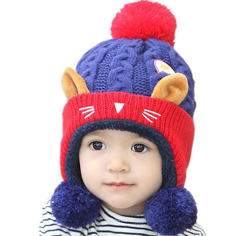 62cff9443a6 Baby Kids girl earmuff beanie hat cap for winter warm Crochet Knit fur pom  bobble ear