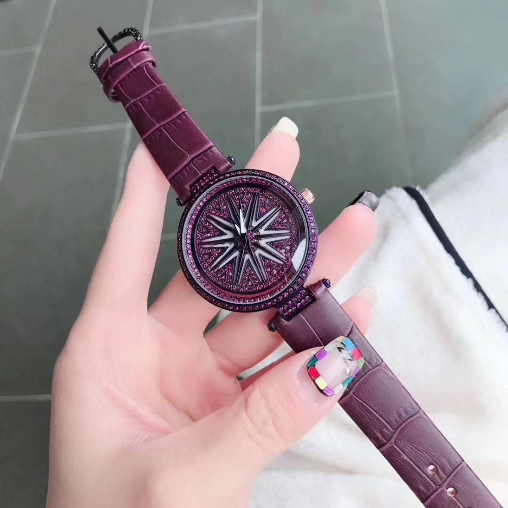 Big Dial Rotating Flower Wristwatch Women Dress Rhinestone Watches Fashion Casual Quartz Watch Luxury Brand relogio feminino silver diamond women watches luxury brand ladies dress watch fashion casual quartz wristwatch relogio feminino
