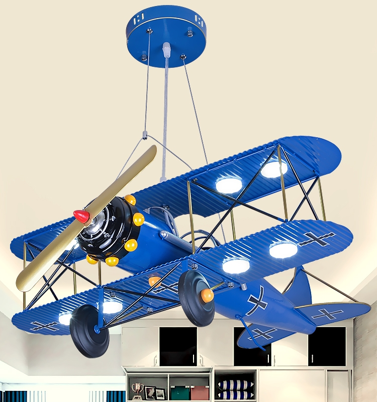 Child room suction LED blue red ceiling lamp boy cartoon bedroom lamp creative eye guard aircraft ceiling light ZA1129535 wrought iron chandelier aircraft lamp boy children master bedroom room led chandeliers creative cartoon