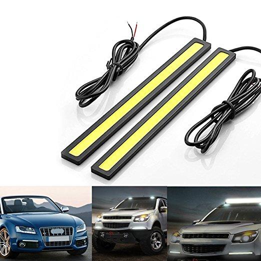 2pc 17cm COB LED DRL Daytime Running Lights Strip Waterproof COB LED Driving Bar Stripes Panel Car Working Lights white ice blue