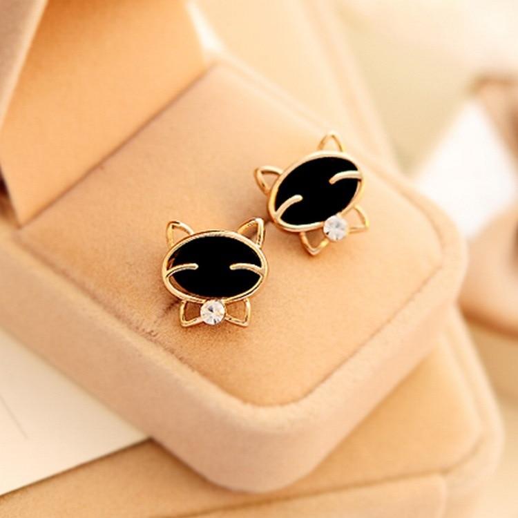Fashion New 2018 1pair Vintage Drop Shipping Black Smile Cat High-grade Fine Stud Bohemian Earrings For Women Brincos De Festa