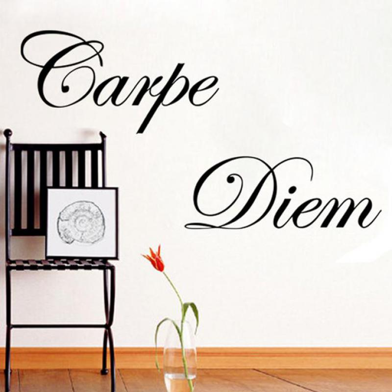 Diy Latin Poster Mural Sticker Carpe Diem Vinyl Wall Stickers For Bedroom Decoration Wall Stickers Vintage Decoracion ...