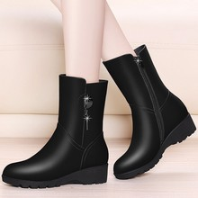 2018 New Wedges Heel Mid Calf Boots Genuine Leather Boots Women Round Toe Snow Boots Designer Black Red Shoes YG-B0052 meotina genuine leather mid calf boots winter snow boots women real fur warm boots chain platform wedges high heel shoes black