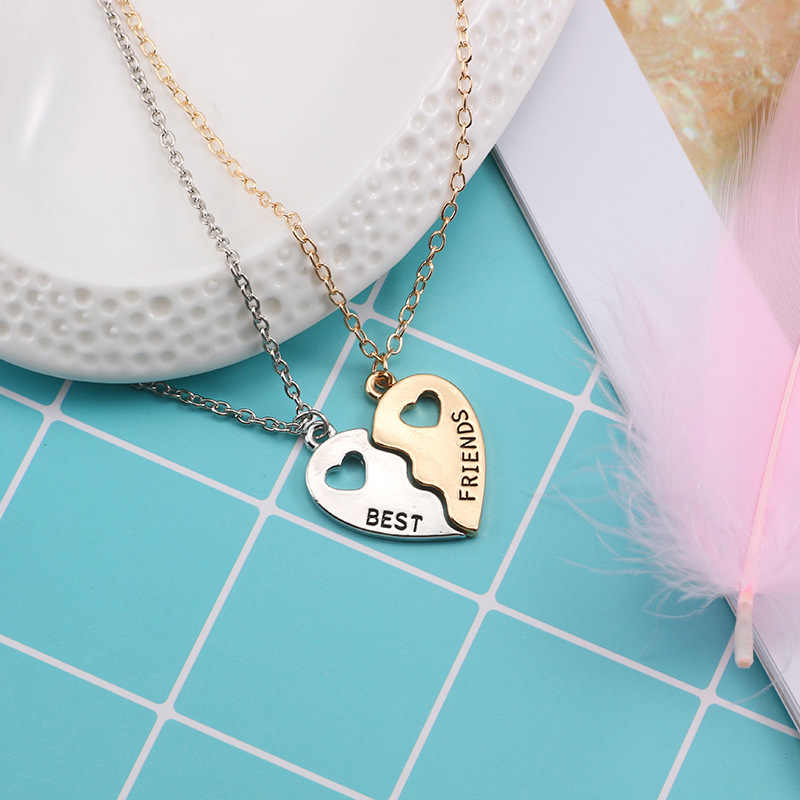 VAMOOSY 2 stücke Beste Freunde 925 Halskette Schmuck frauen Anhänger Paare Gepaart Halsketten & Anhänger Unisex Liebhaber valentinstag Geschenk