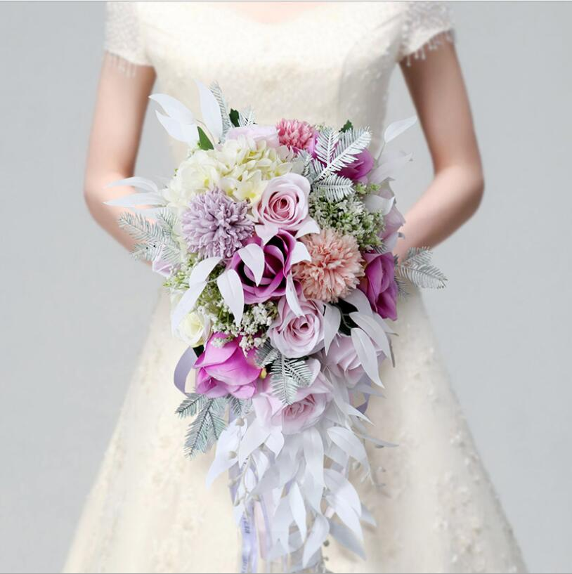 Bride's Wedding Bouquet Pink Purple Water Drop Waterfall Elegant Wedding Bouquet Artificial Carla Lily Bride Bridal Bouquet