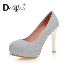 DoraTasia 2017 Big Size 32-43 Sexy Super High Heel Pumps Woman Fashion Platform Bling Uper Wedding Party Women Shoes