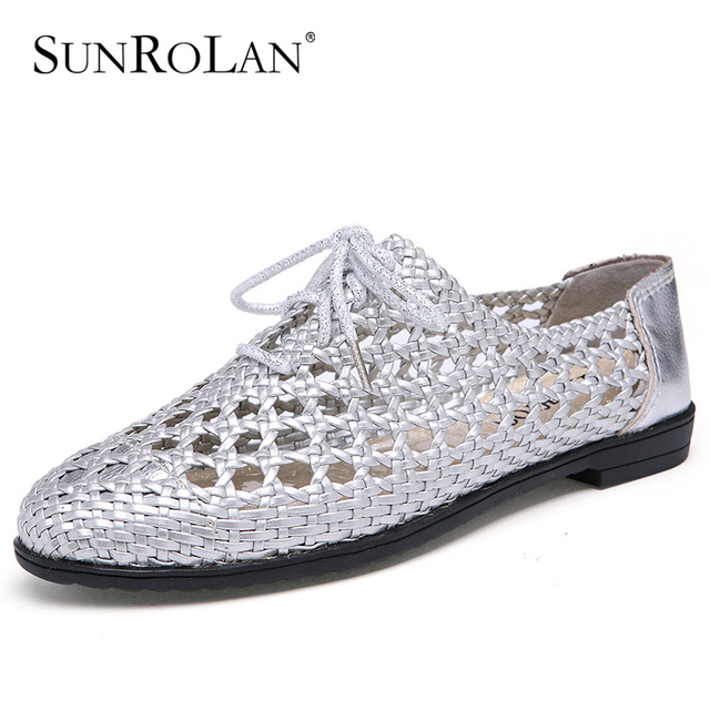 SUNROLAN 2017 New Fashion Spring Women Shoes Genuine Leather Cut out Flat Lace up Soft Shoes Woman Loafers Round Toe ShoesZY9988