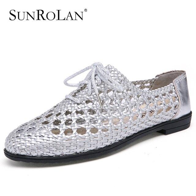 Sunrolan 2017 nueva primavera de la moda de las mujeres zapatos de cuero genuino out Flat Lace up Zapatos de Mujer Mocasines de Punta Redonda Suave ShoesZY9988