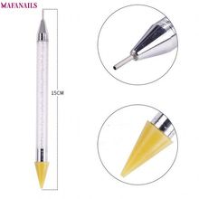 1Pcs Dual-ended Nail Dotting Pens Crystal Beads Handle Rhinestone Studs Picker Wax Pencil Manicure Art Picking Tools @DTB14