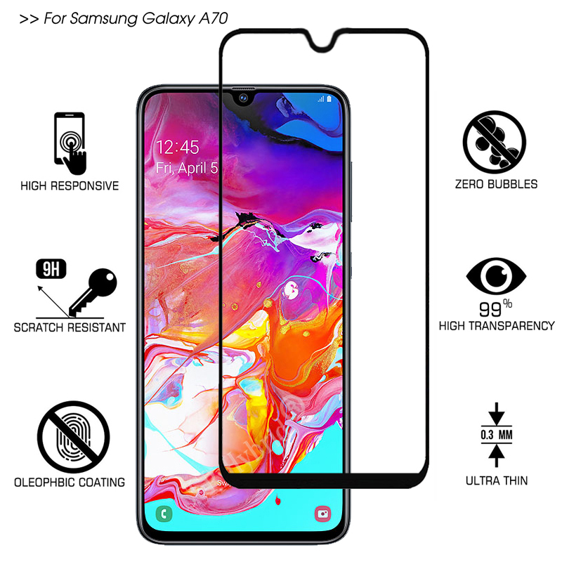 For Samsung Galaxy A70 A50 Tempered Glass Full Cover Screen Protector For Galaxy A 70 50 Protective Glass Film Screen Protection