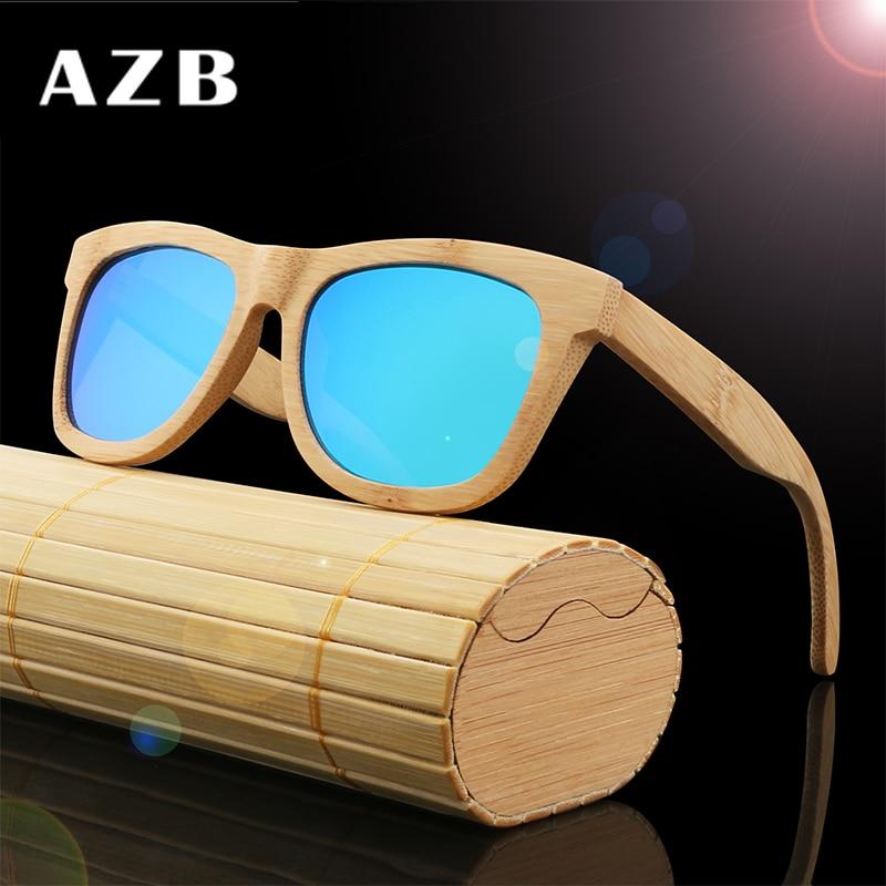 AZB 2018 Vintage bambú piernas de madera gafas de sol hombres - Accesorios para la ropa - foto 3