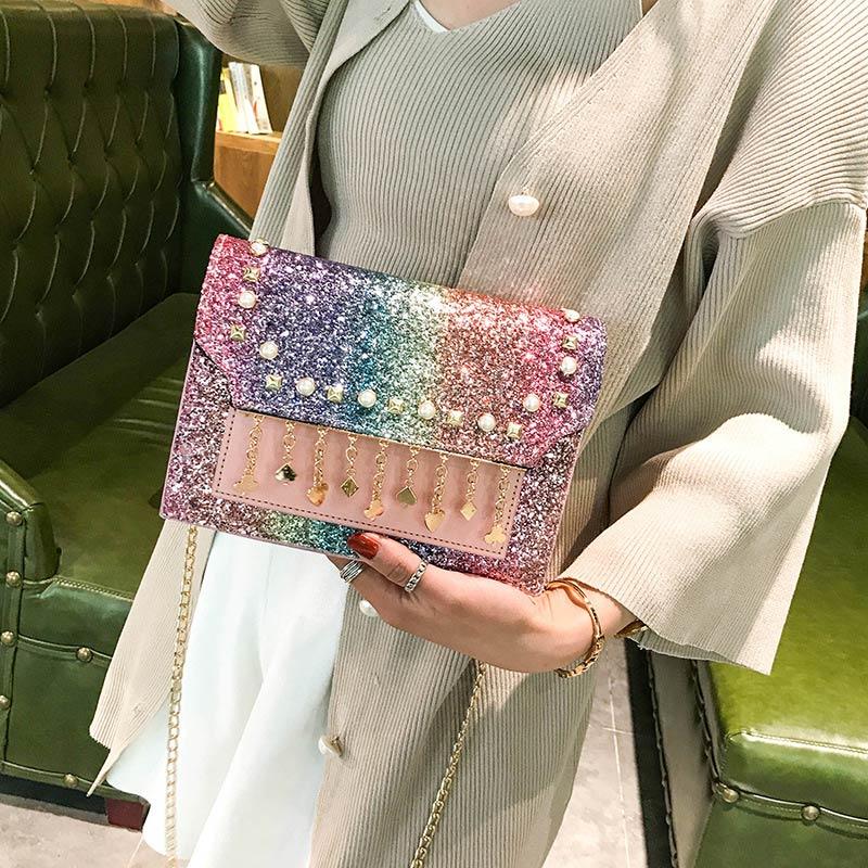 Women Shoulder Bag Design Chain Bling Female Clutch Luxury Pearl Fashion Messenger Bags Ladies Glitter Cross Body Bag Handbag