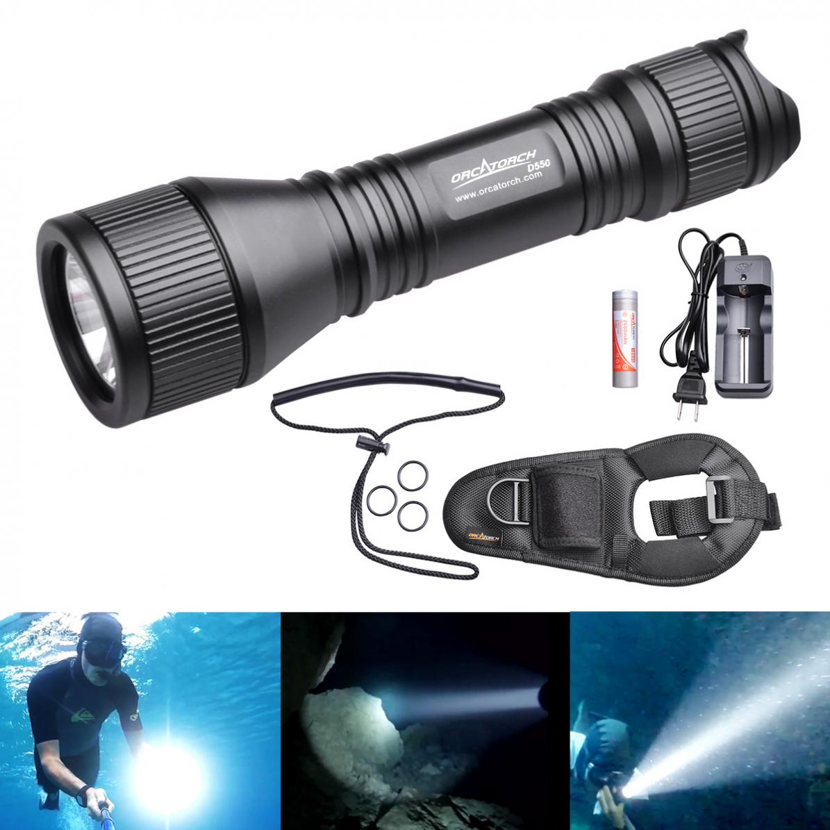 ORCATORCH New D550 Waterproof Diving Flashlight 970 Lumens XM-L2 U4 LED with O-Ring and Hand Rope for Professional Diving