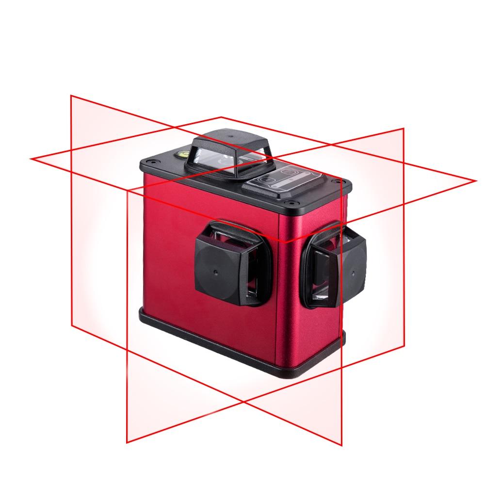 Rouge 3D Laser Niveau 12 Lignes Auto-Nivellement Verrouillable Horizontale Et Verticale Laser Ligne + 2 Batterie Au Lithium + chargeur