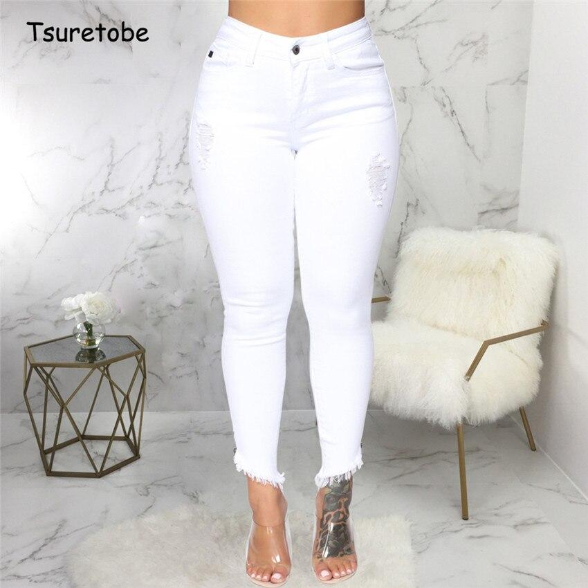 Tsuretobe Casual Blanco Agujero Rasgado Jeans Mujer Bodycon Alta Cintura Pantalones De Vaqueros Pitillo Senora Moda Pantalones Puro Color Mujer Pantalones Vaqueros Aliexpress