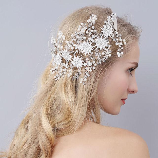 d9d18c7d540a4 Luxury Flowers Wedding Hair Accessories Gold Silver Bridal Hats Cute Flowers  Bridal Accessories Bridal Headpiece