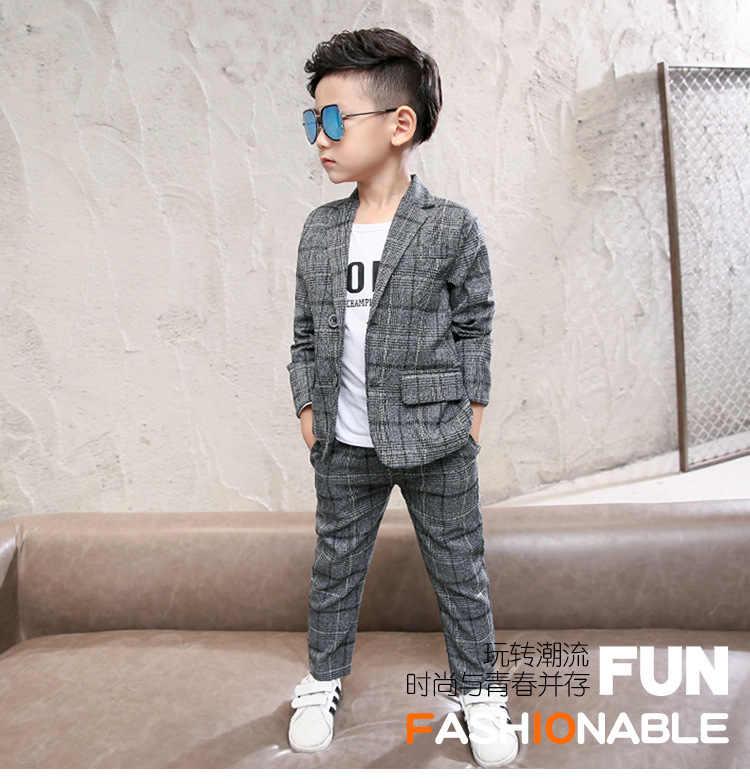 子供のファッションスーツ 2018 秋少年格子縞のスーツ韓国語バージョン